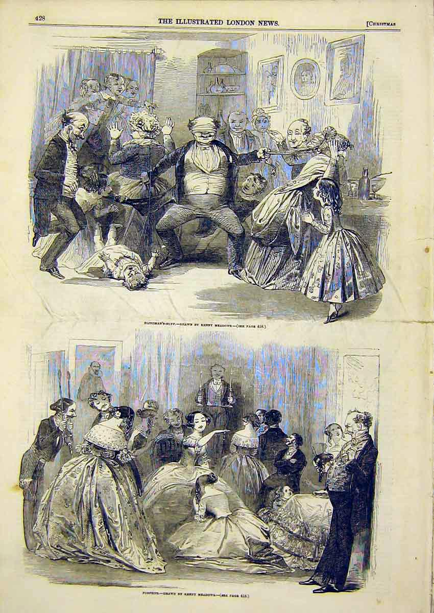 Print Meadows Drawing Blind-Mans-Buff Forfeits 1849 28Ccc1 Old Original