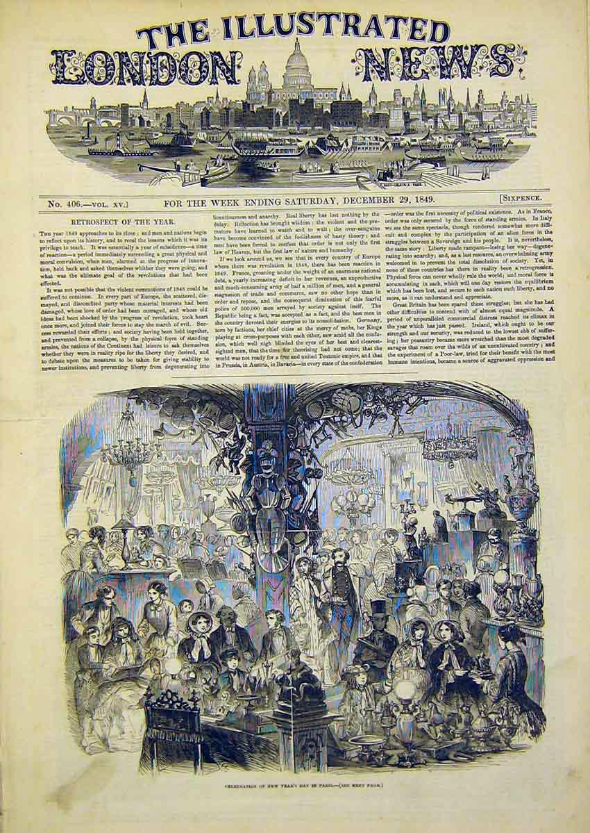 Print New Years Day Paris Celebrations 1849 34Ccc1 Old Original