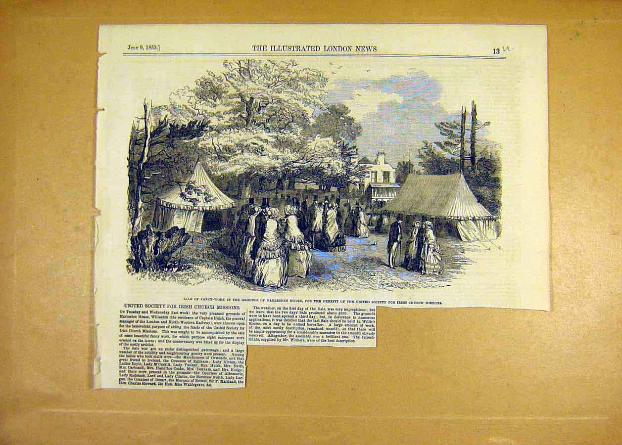 Print 1853 Harlesden House Sale Irish Church Missions Fete 13Uccc1 Old Original