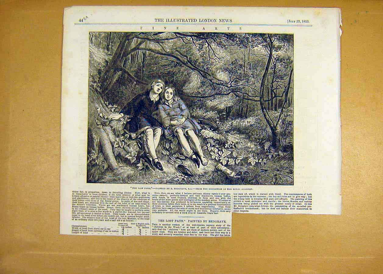 Print 1853 Fine Art Lost-Path Redgrave Royal Academy 44Uccc1 Old Original