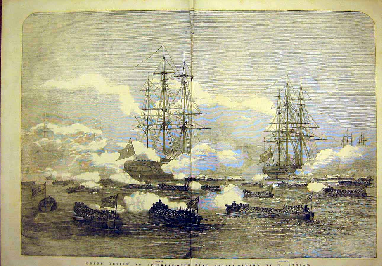 Print 1853 Greand-Review Spithead Boat Attack Duncan Navy 03Tccc1 Old Original