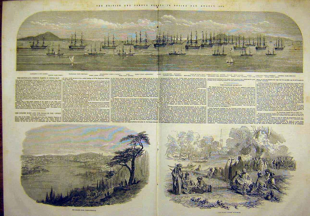 Print 1853 Besika Bay British French Fleet Golden Horn Europe 04Tccc1 Old Original