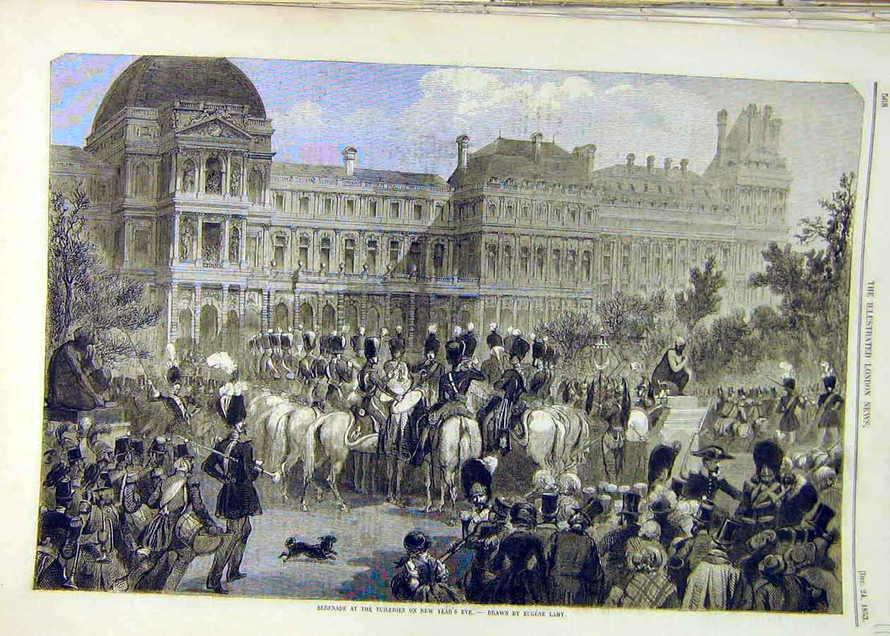 Print 1853 Serenade Tuilleries New-Year Lamy Fine Art 11Ccc1 Old Original