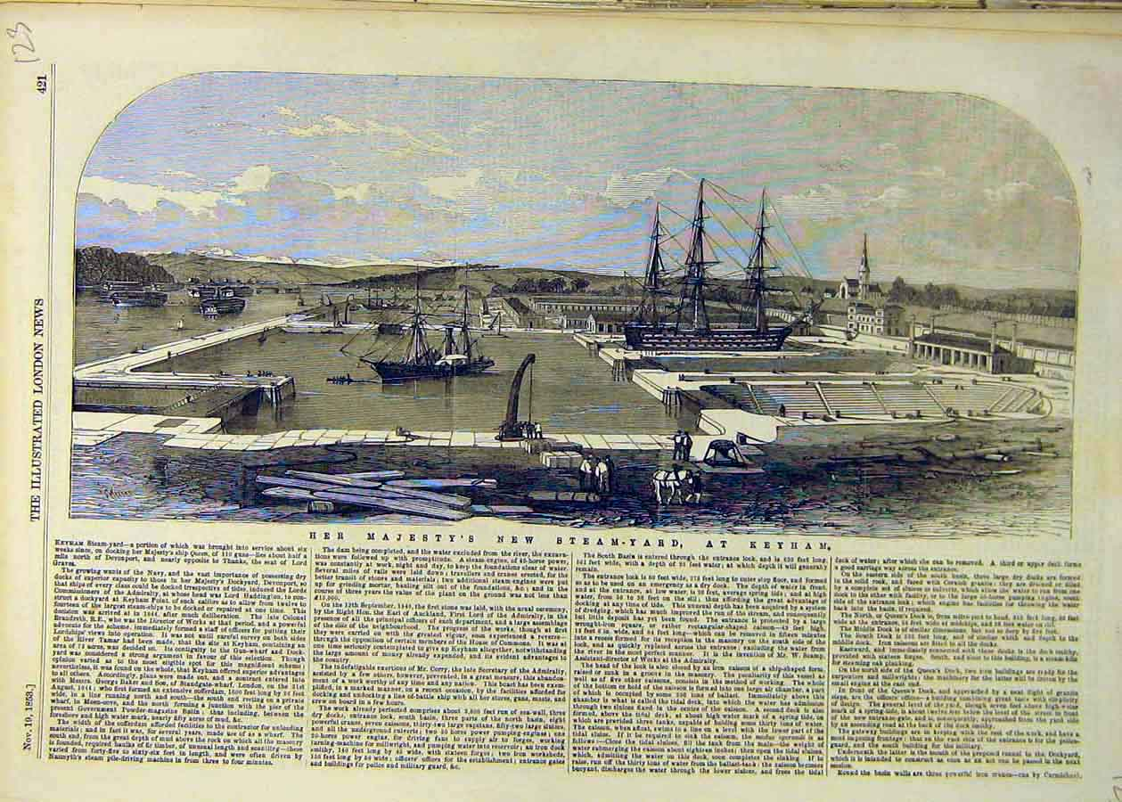 Print 1853 Steam-Yard Keyham Devonport Ships Dock 23Ccc1 Old Original