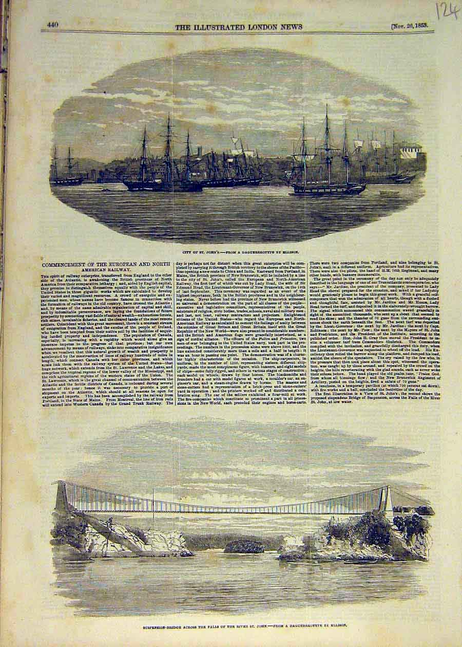 Print 1853 St. John'S Suspension Bridge River Railway 24Ccc1 Old Original