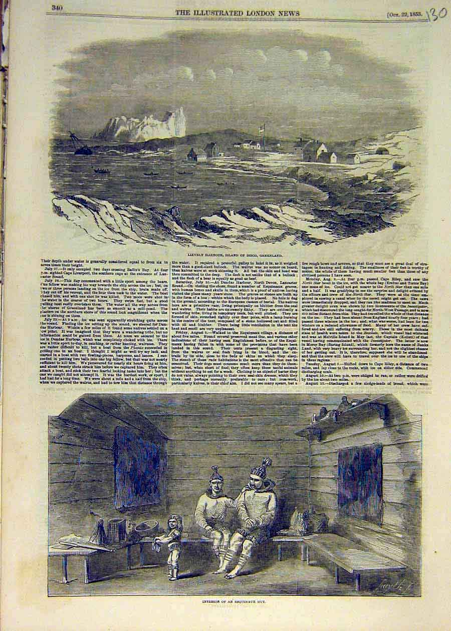 Print 1853 Lievely Harbour Greenland Esquimaux Eskimo Hut 30Ccc1 Old Original