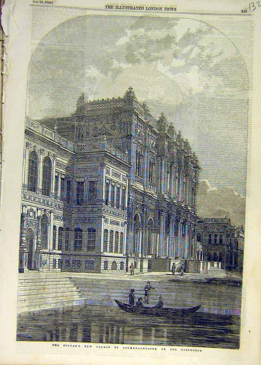 Print 1853 Building Sultan Palace Dolmabaghdsche Bosphorous 32Ccc1 Old Original