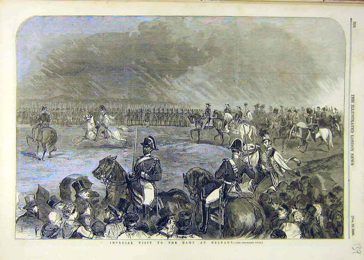 Print 1853 Imperial Visit Camp Helfaut Military Troops 39Ccc1 Old Original