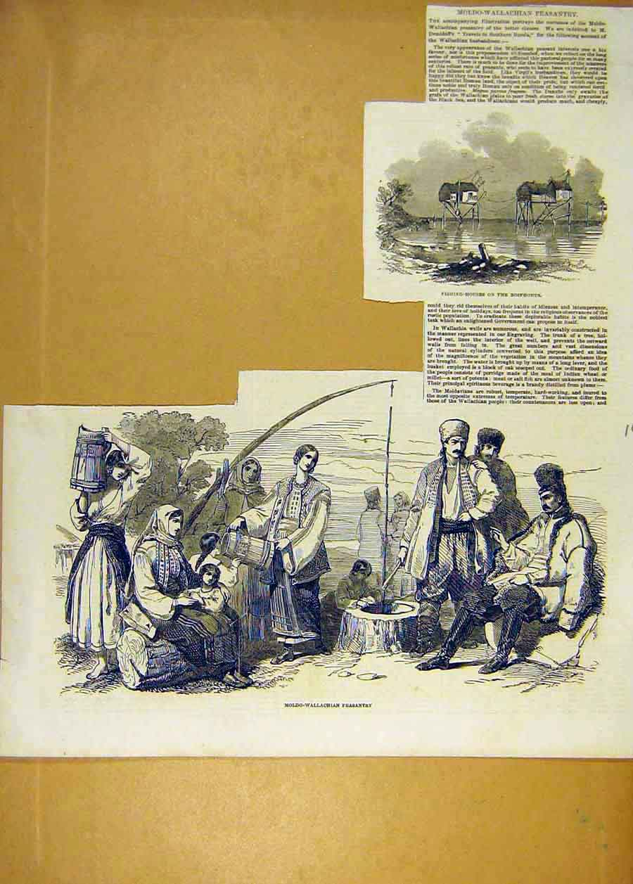 Print 1853 Fishing House Bosphorous Moldo-Wallachian Peasant 40Lccc1 Old Original