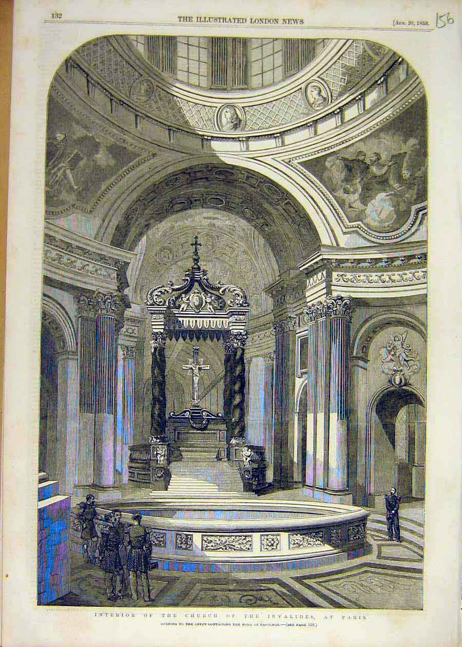 Print 1853 Church Invalides Paris Crypt Tomb Napoleon 56Ccc1 Old Original