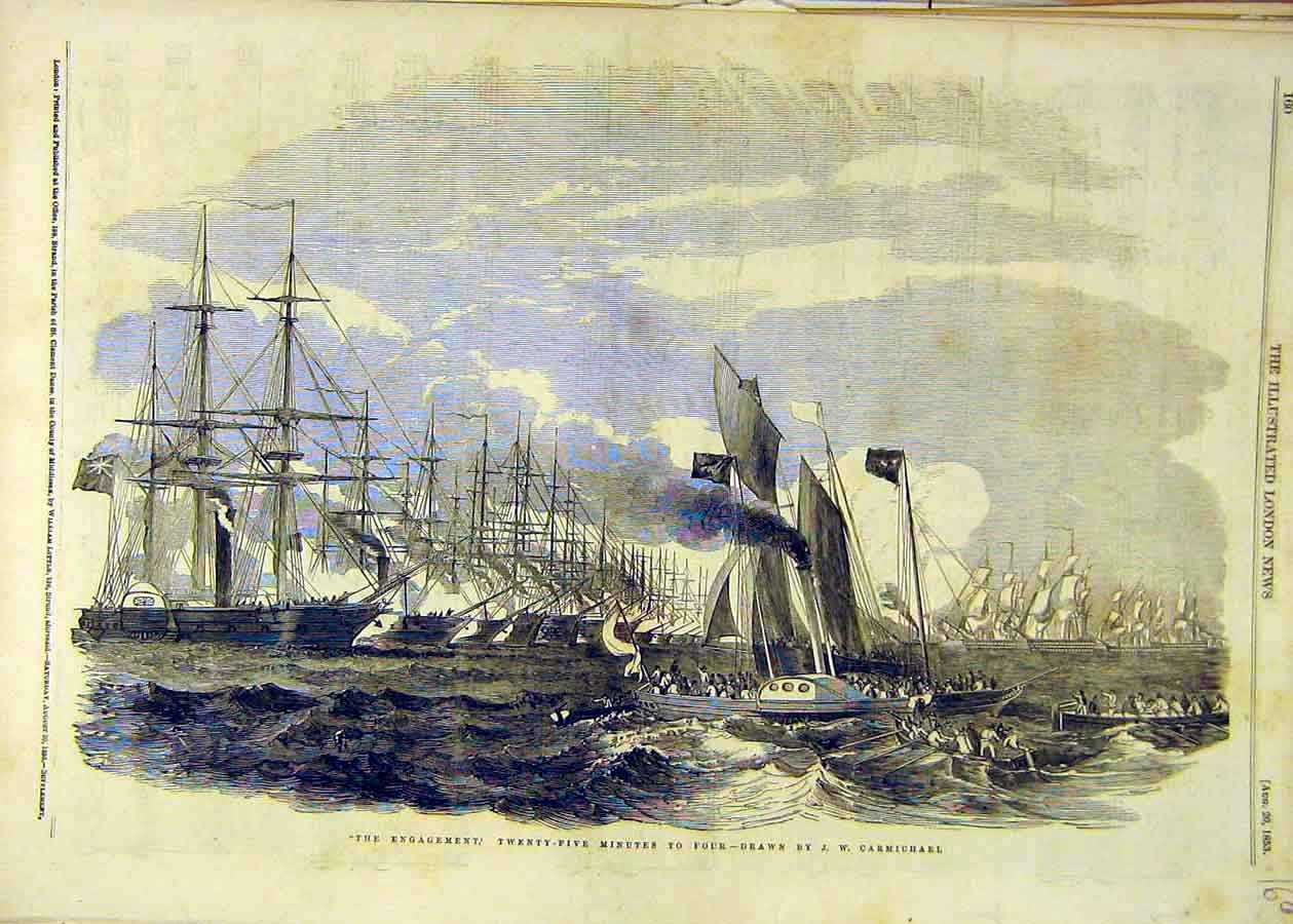 Print 1853 Carmichael Fine Art Ships Battle Engagement 60Ccc1 Old Original