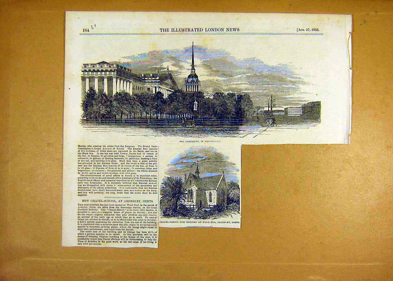 Print 1853 Admiralty St Petersburg Chapel-School Arderley 64Uccc1 Old Original