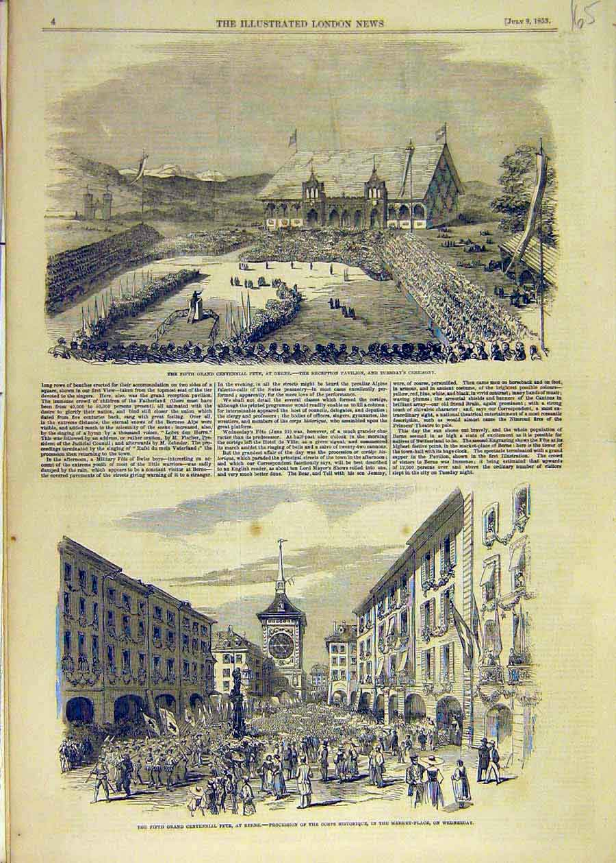 Print 1853 Fete Berne Pavilion Market-Place Switzerland 65Ccc1 Old Original