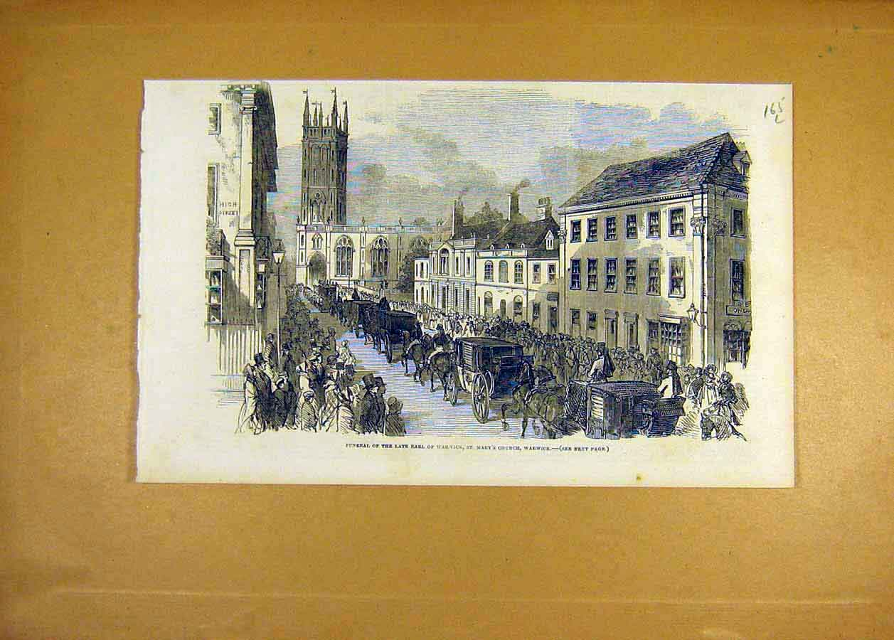 Print 1853 Funeral Earl Warwick St Mary'S Church 65Lccc1 Old Original