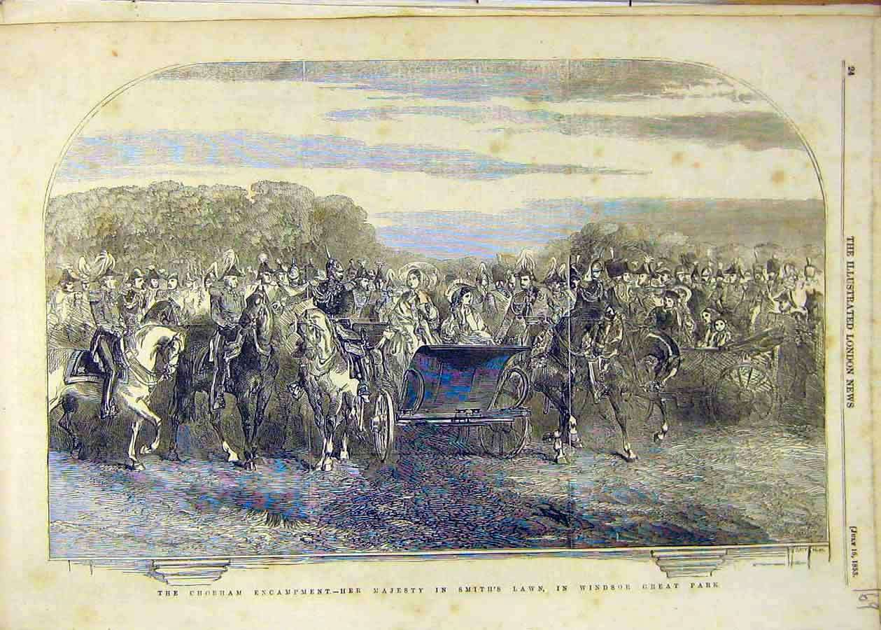 Print 1853 Chobham Camp Military Smith'S Lawn Windsor 69Ccc1 Old Original