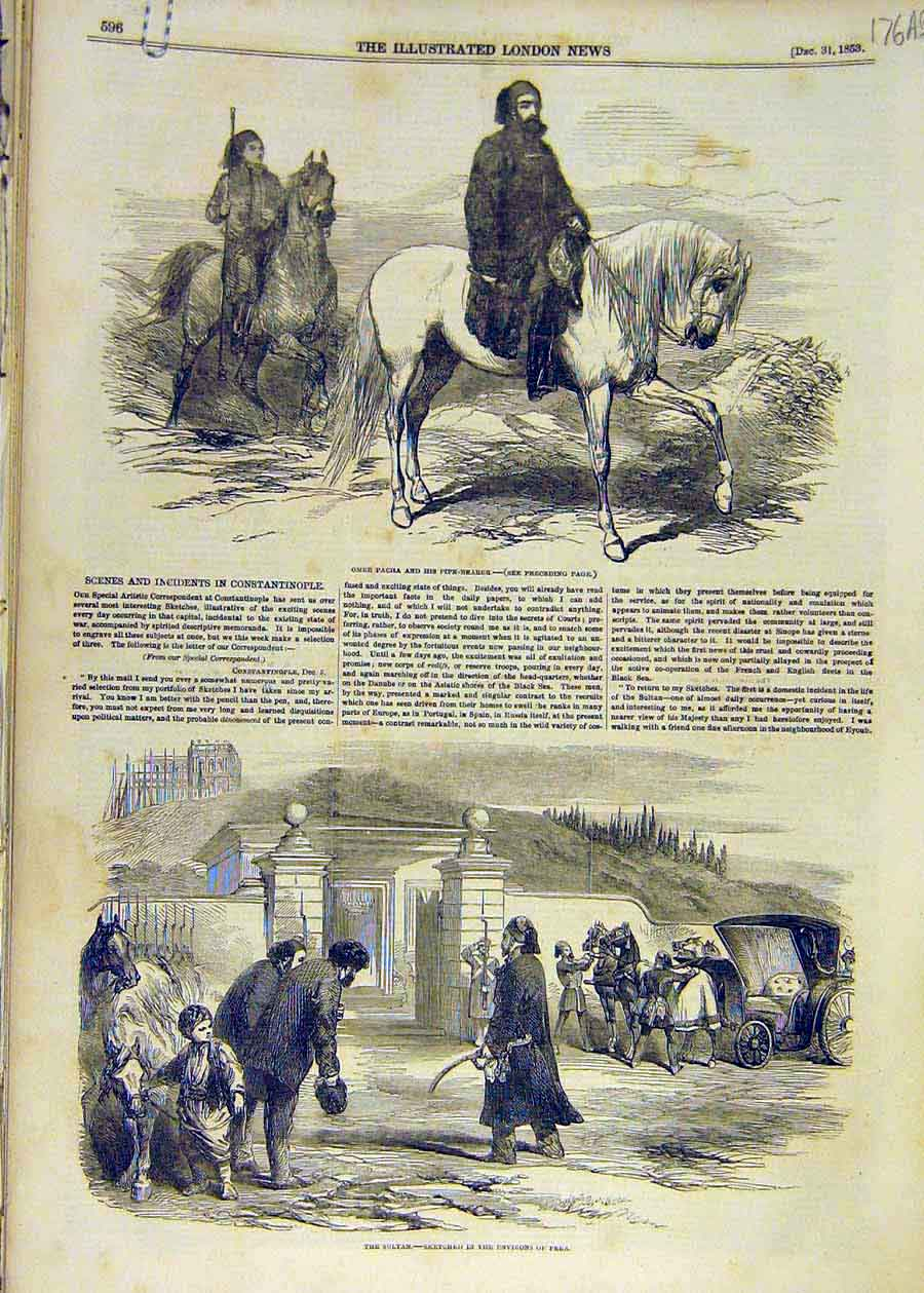 Print 1853 Scenes Incidents Constantinople Sultan Sketches 76Accc1 Old Original