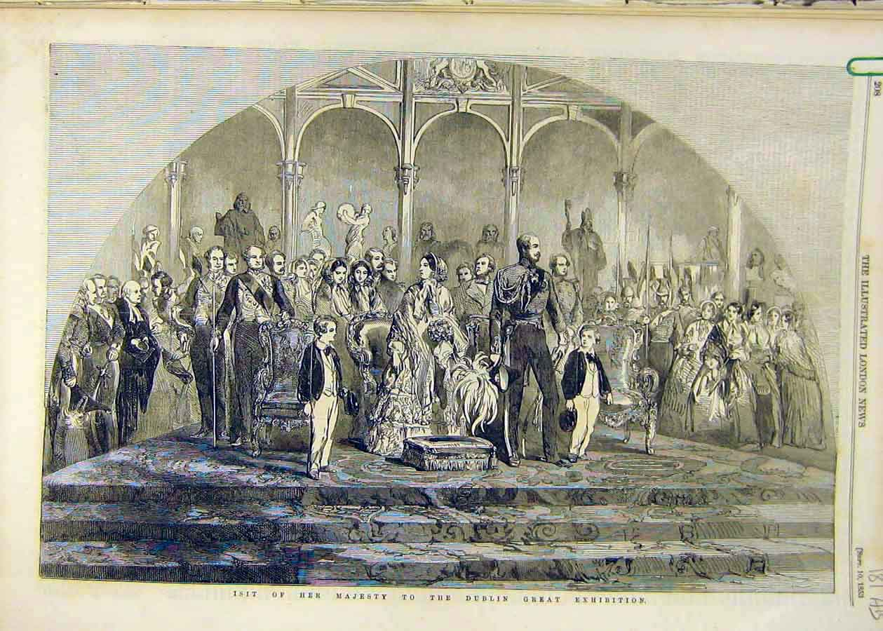Print 1853 Queen Visit Dublin Exhibition Ireland Carlisle 81Accc1 Old Original