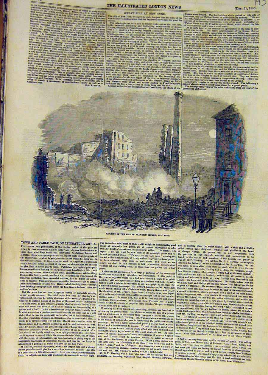 Print 1853 Fire Remains Franklin-Square New-York Buildings 93Ccc1 Old Original