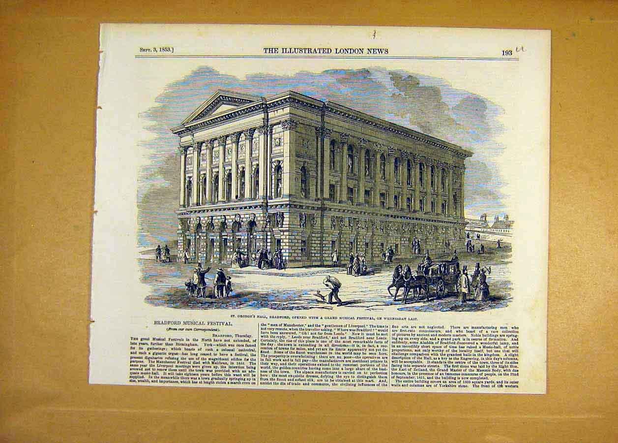 Print 1853 St George'S Hall Bradford Musical Festival 93Uccc1 Old Original