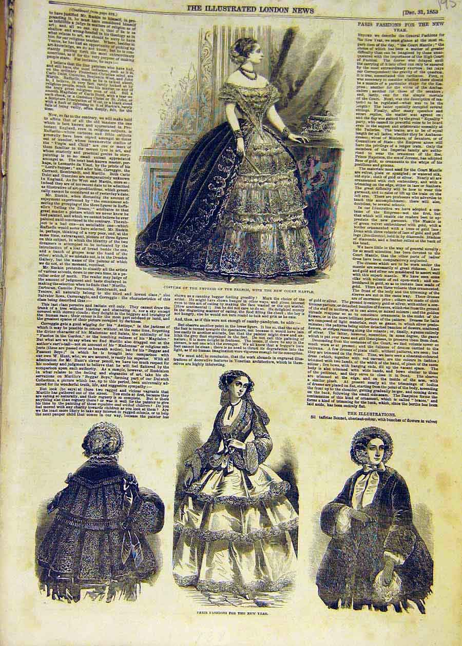 Print 1853 Paris Fashion Empress French Court-Mantle 95Ccc1 Old Original