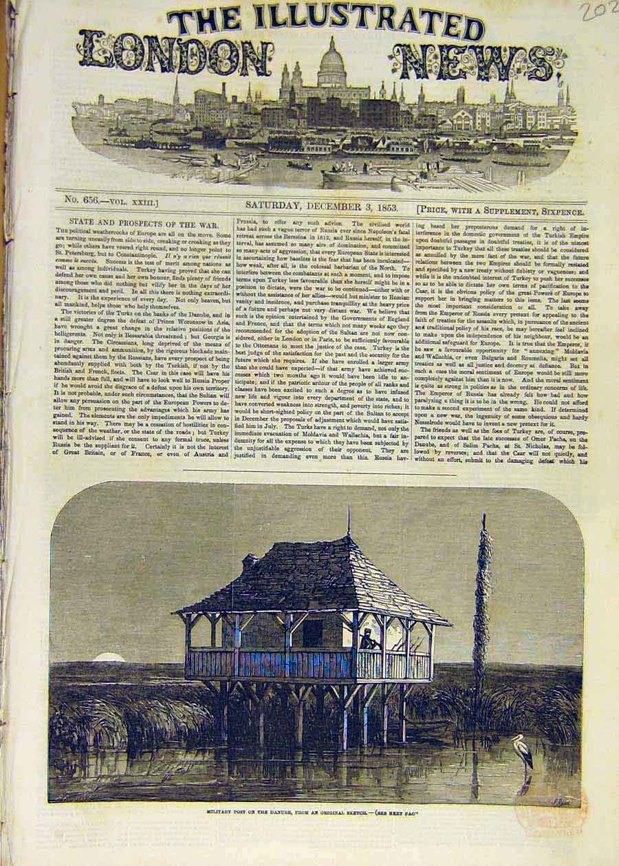 Print 1853 Military Fort Danube Sketch War Soldier 02Ccc1 Old Original