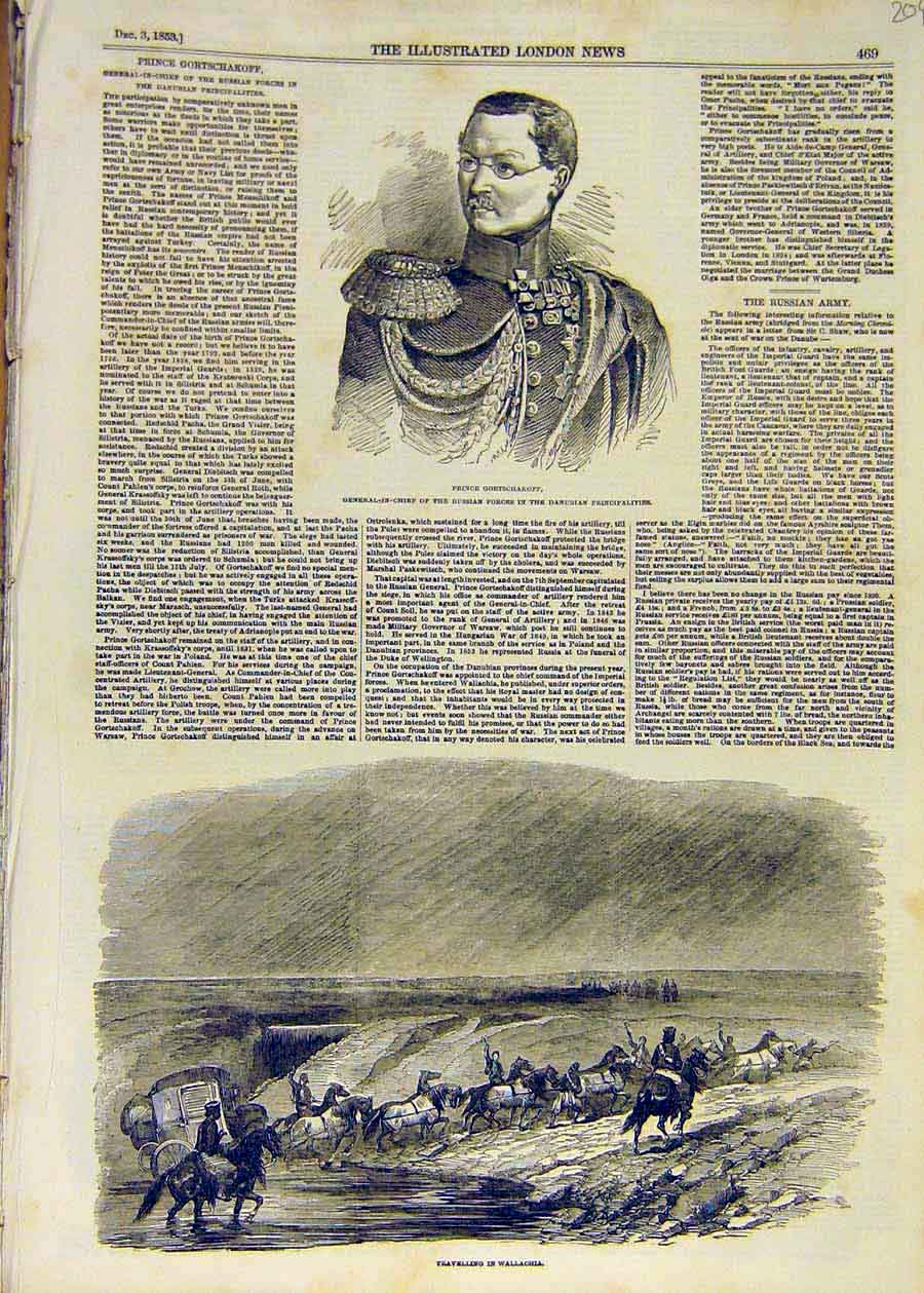 Print 1853 Prince Gortcharkoff Wallachia Travel 04Ccc1 Old Original