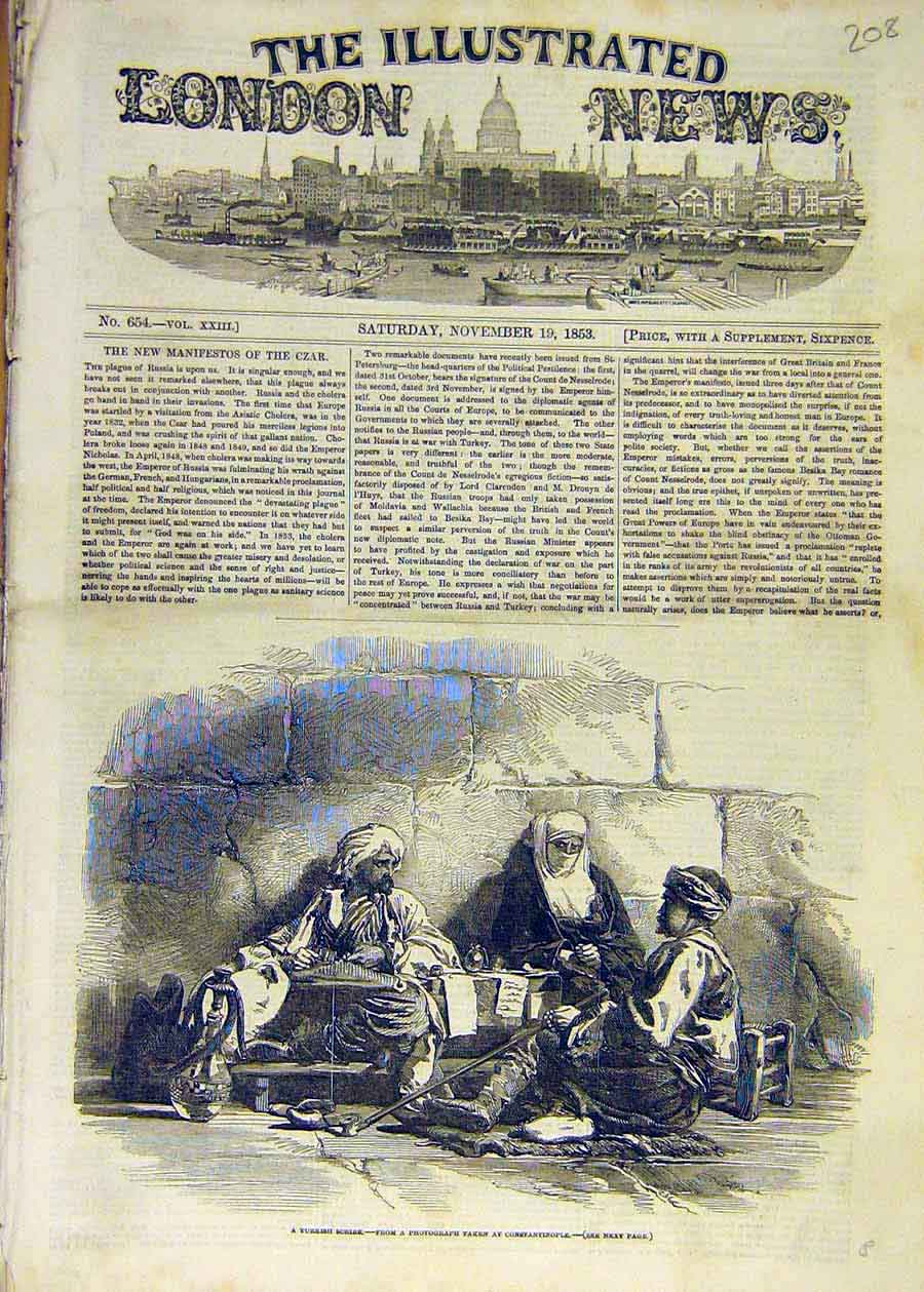 Print 1853 Turkish Scribe Constantinople People 08Ccc1 Old Original