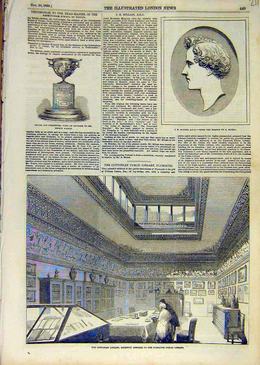 Print 1853 Millais Munro Marble Cup Wallis Cottonian Library 11Ccc1 Old Original
