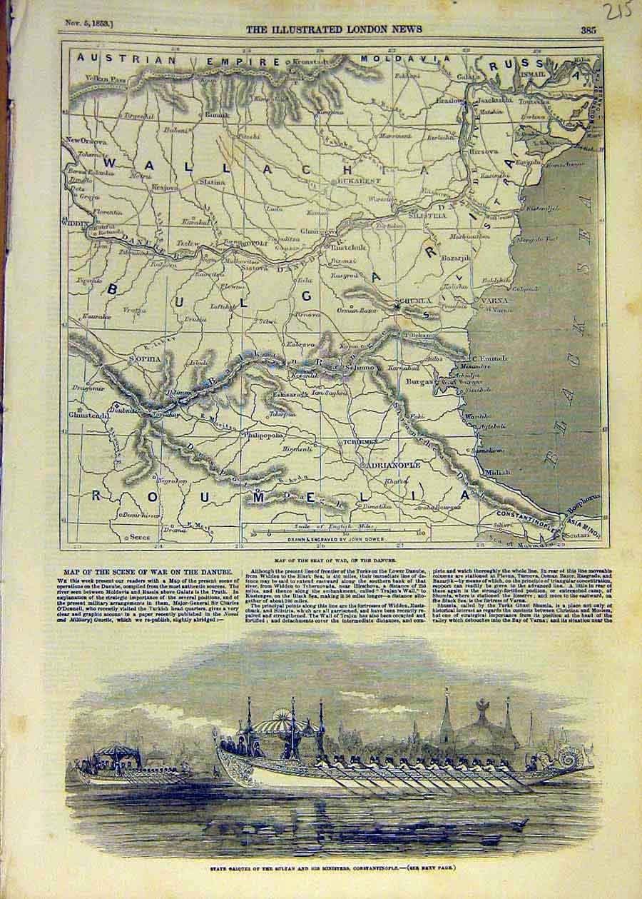 Print 1853 Map Plan Seat-Of-War Danube Wallachia Caiques 15Ccc1 Old Original