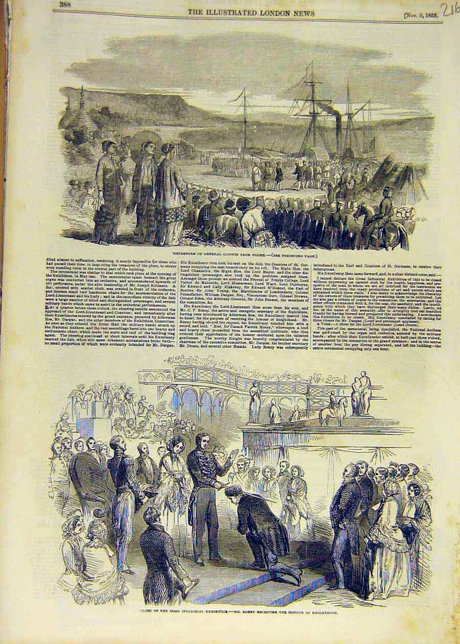Print 1853 Godwin Prome Irish Industrial Exhibition Roney 16Ccc1 Old Original