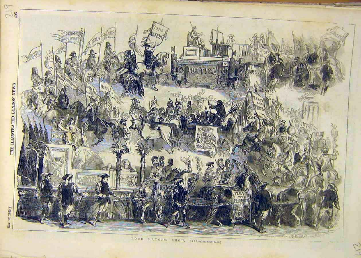 Print 1853 Lord Mayor Show Sketches People 19Ccc1 Old Original