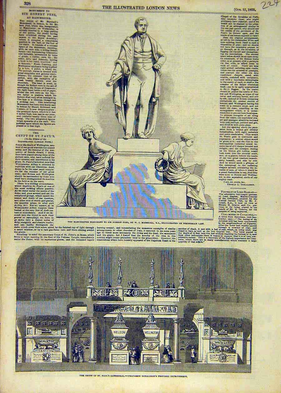 Print 1853 Manchester Monument Peel Marshall Crypt Cathedral 24Ccc1 Old Original