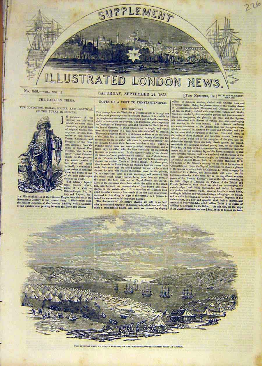 Print 1853 Egyptian Unkair-Skelessi Bosphorous Turkish Fleet 26Ccc1 Old Original