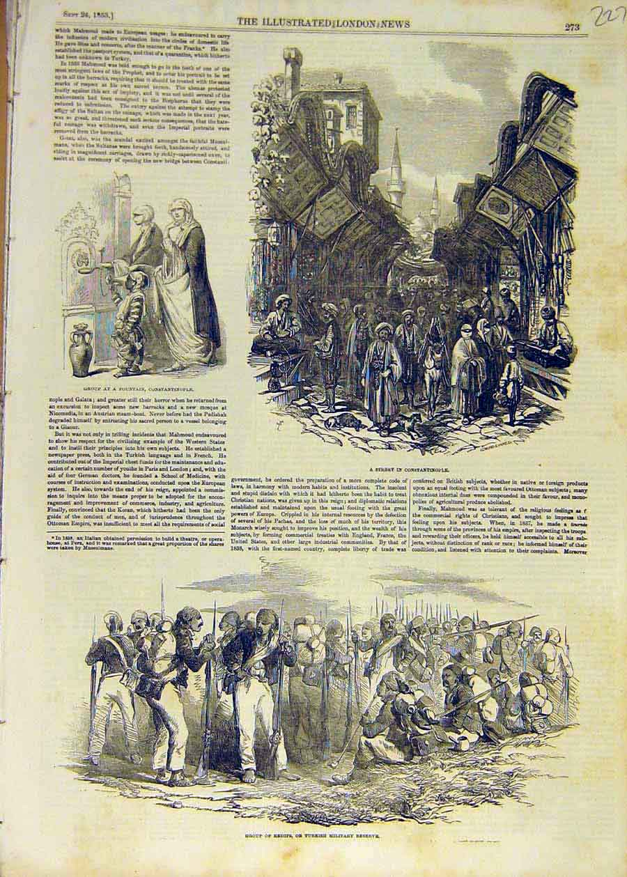 Print 1853 Street Constantinople Fountain Redifs Military 27Ccc1 Old Original