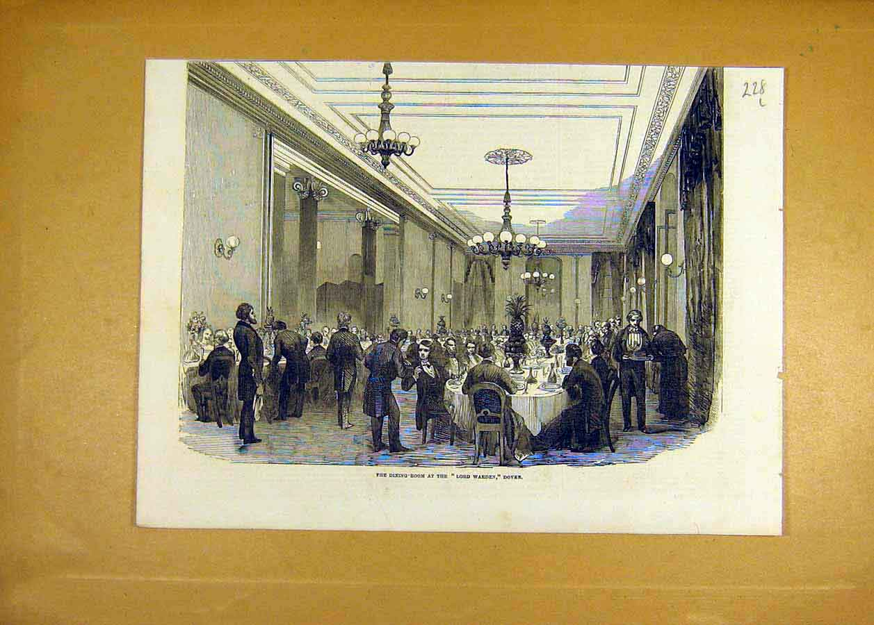 Print 1853 Lord-Warden Dover Dining-Room Building 28Lccc1 Old Original