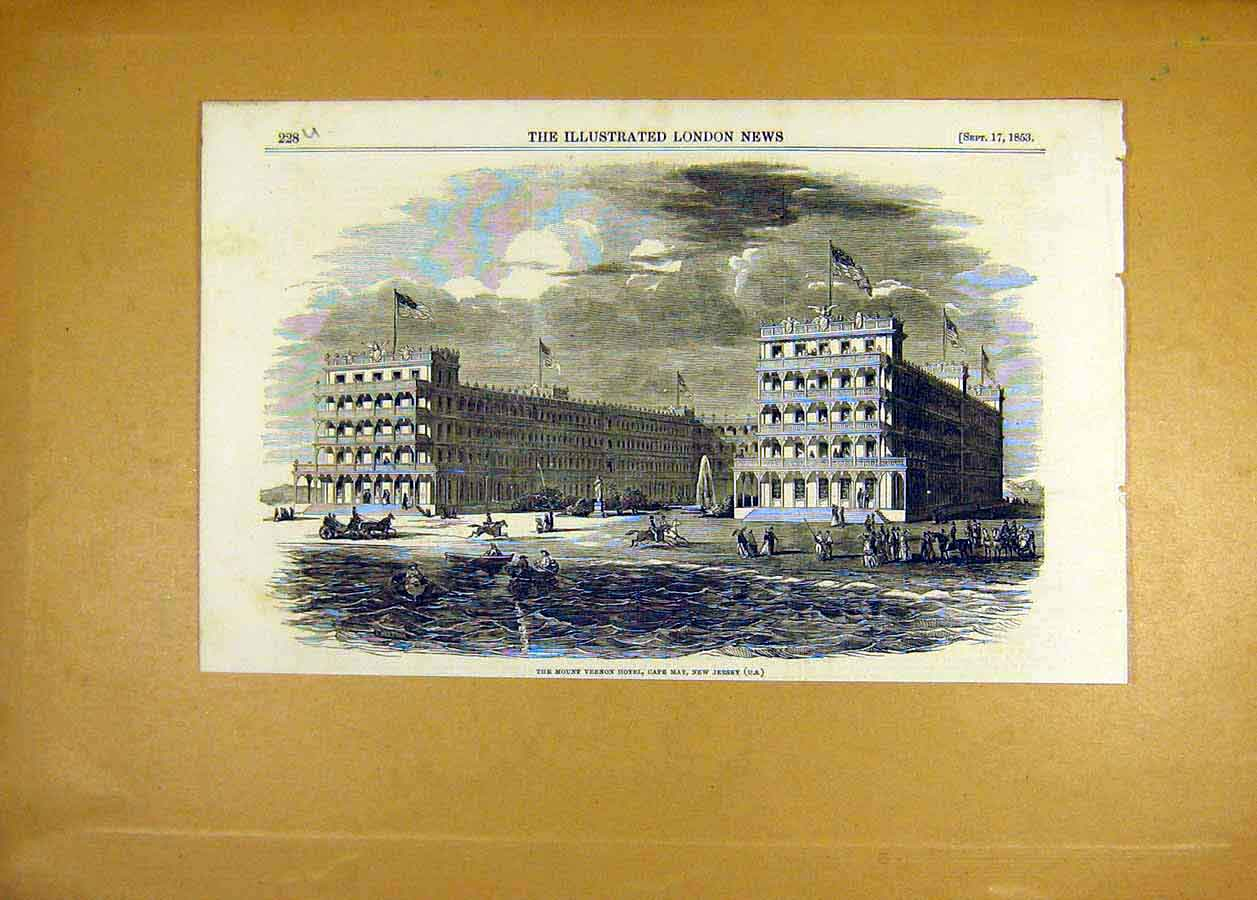 Print 1853 Mount Vernon Hotel Cape-Malay New-Jersey 28Uccc1 Old Original