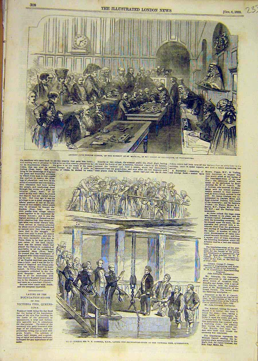 Print 1853 Westminster Exchequer Civic Tenure Carroll Pier 33Ccc1 Old Original