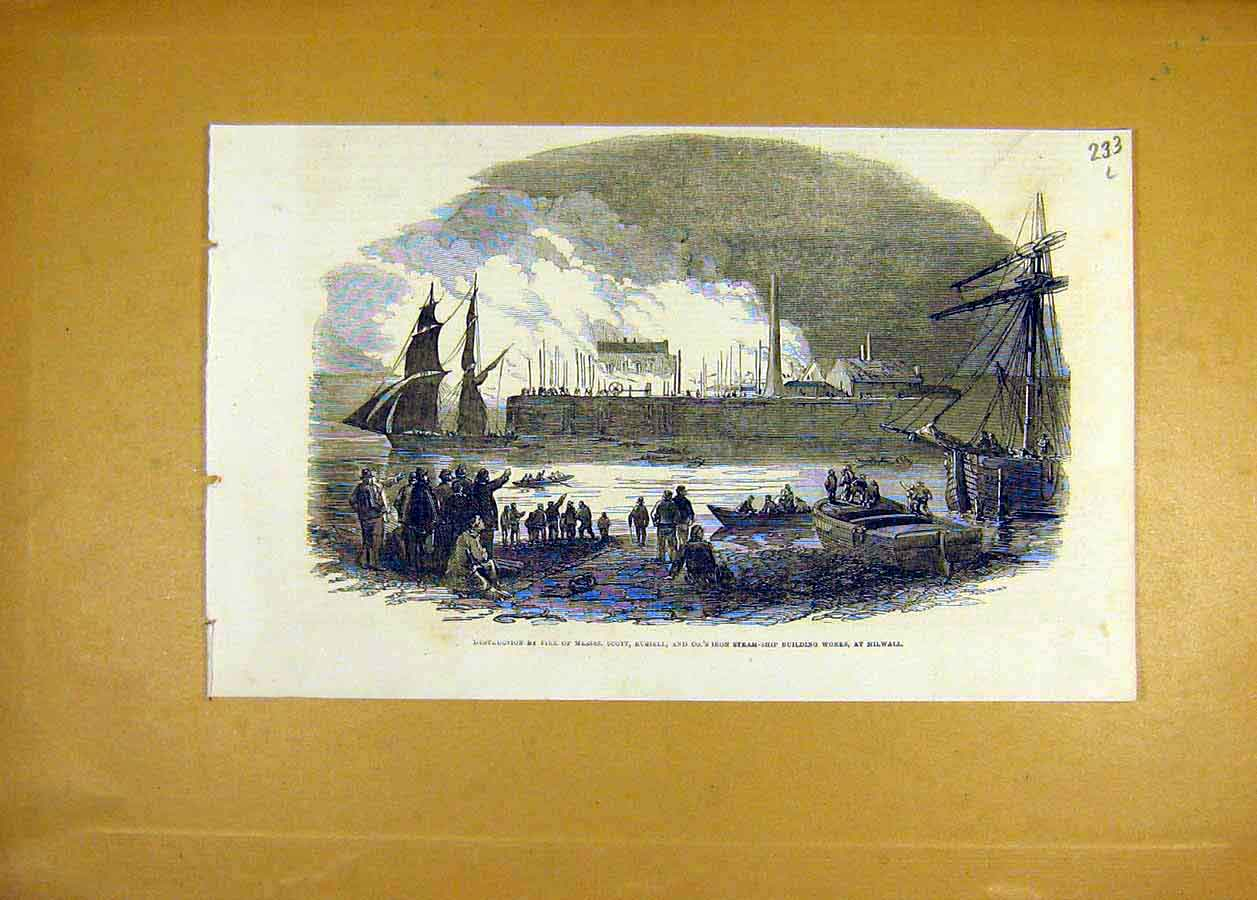 Print 1853 Fire Scott Russell Iron Steam-Ship Building Works 33Lccc1 Old Original