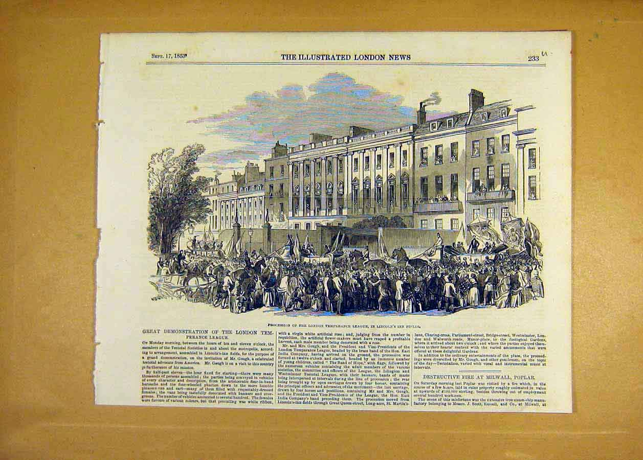 Print 1853 London Temperance Lincoln'S Inn Fields 33Uccc1 Old Original
