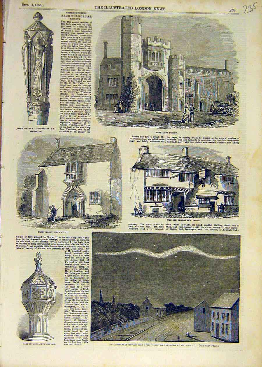 Print 1853 Priory Montacute Yeovil Nash Meteor Dublin 35Ccc1 Old Original