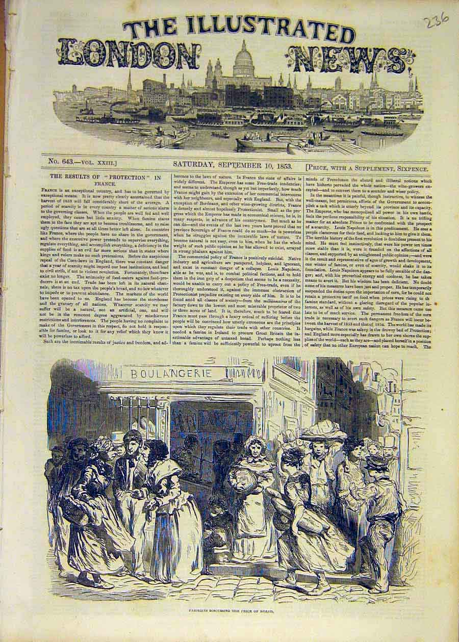 Print 1853 Parisians Price-Bread People France French 36Ccc1 Old Original