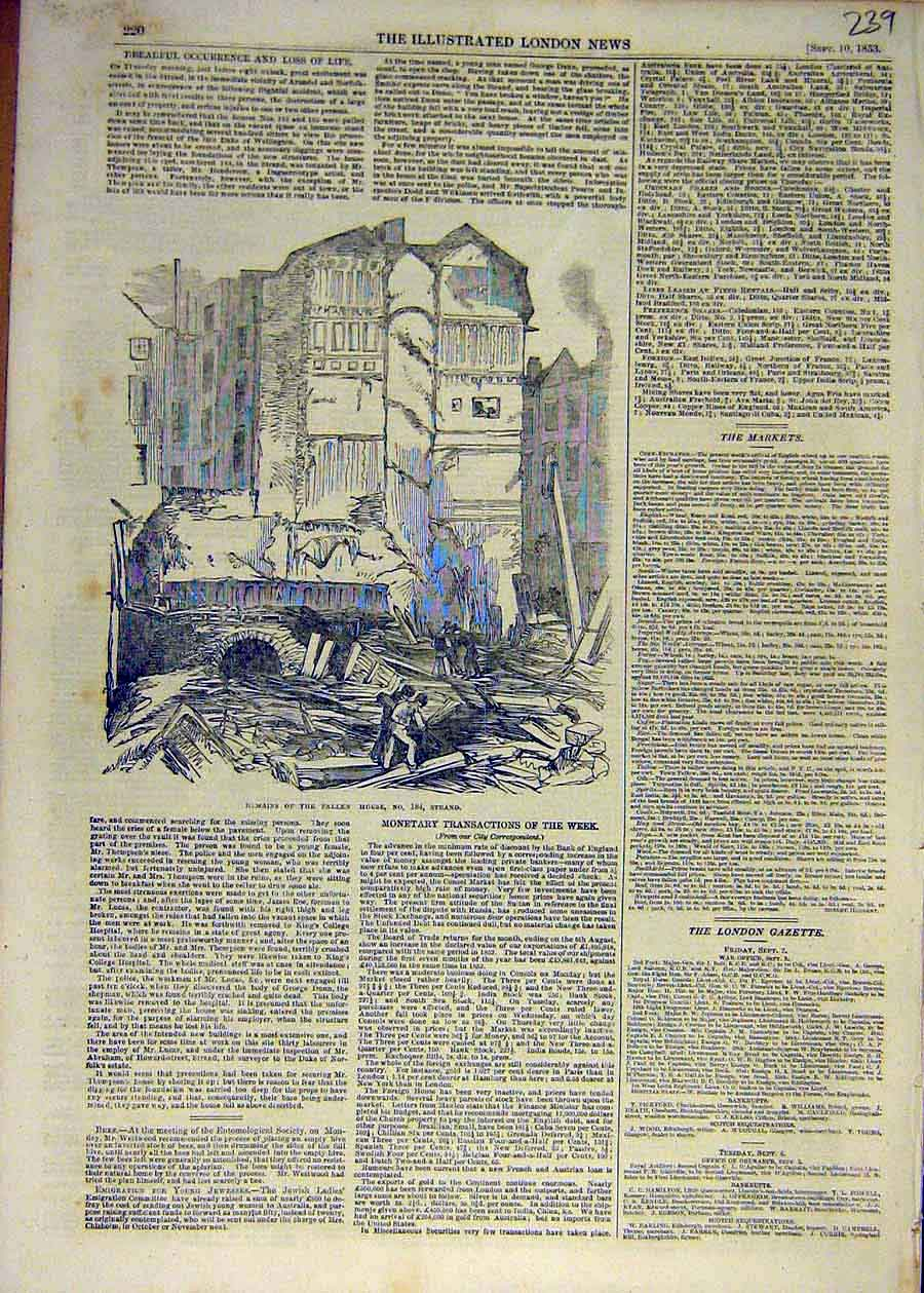 Print 1853 Remains Fallen House 184-Strand Building 39Ccc1 Old Original