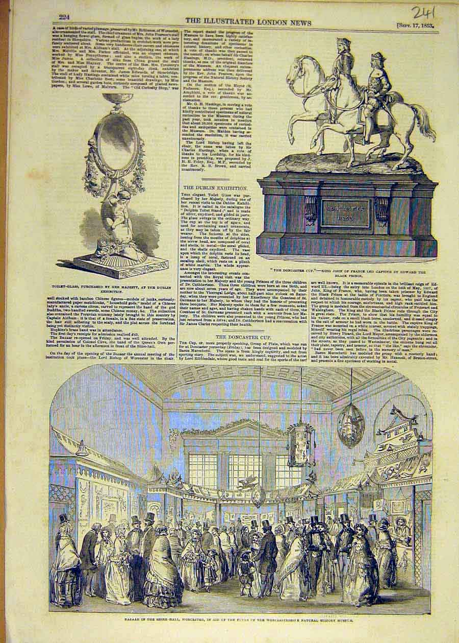 Print 1853 Bazaar Worcester Museum Doncaster Cup Toilet-Glass 41Ccc1 Old Original