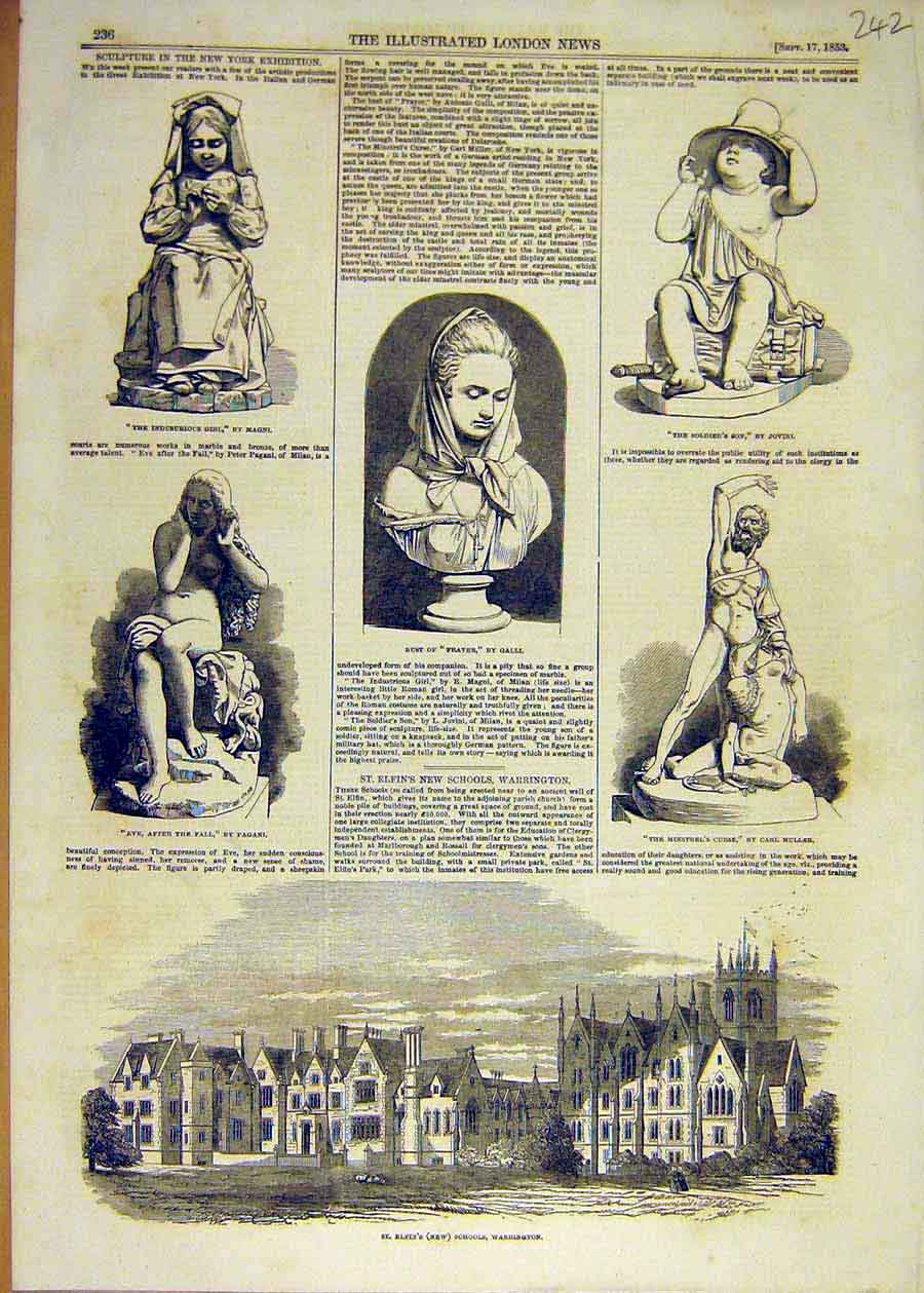 Print 1853 Sculpture New-York Exhibition Statue Warrington 42Ccc1 Old Original