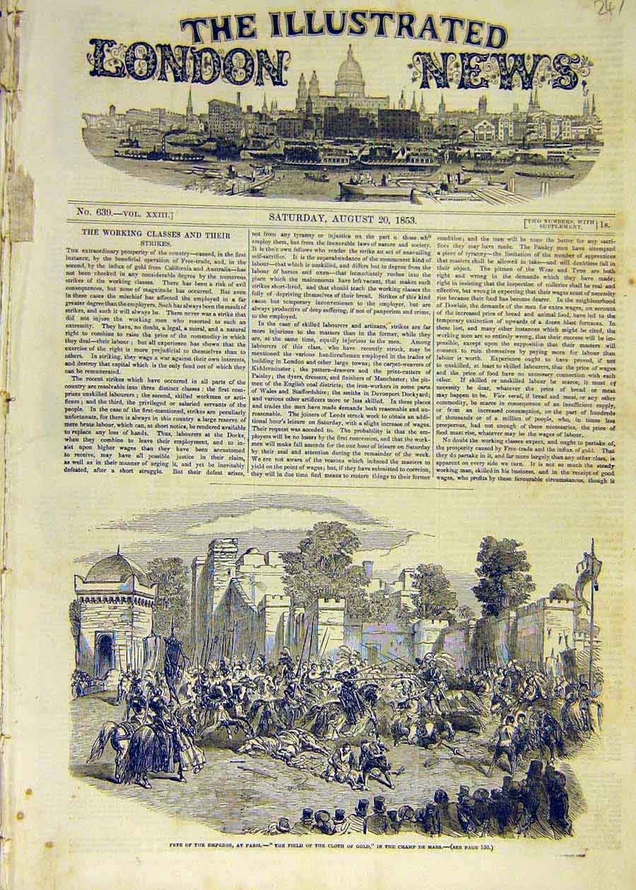 Print 1853 Fete Emperor Paris Filed Cloth-Of-GFrance 47Ccc1 Old Original