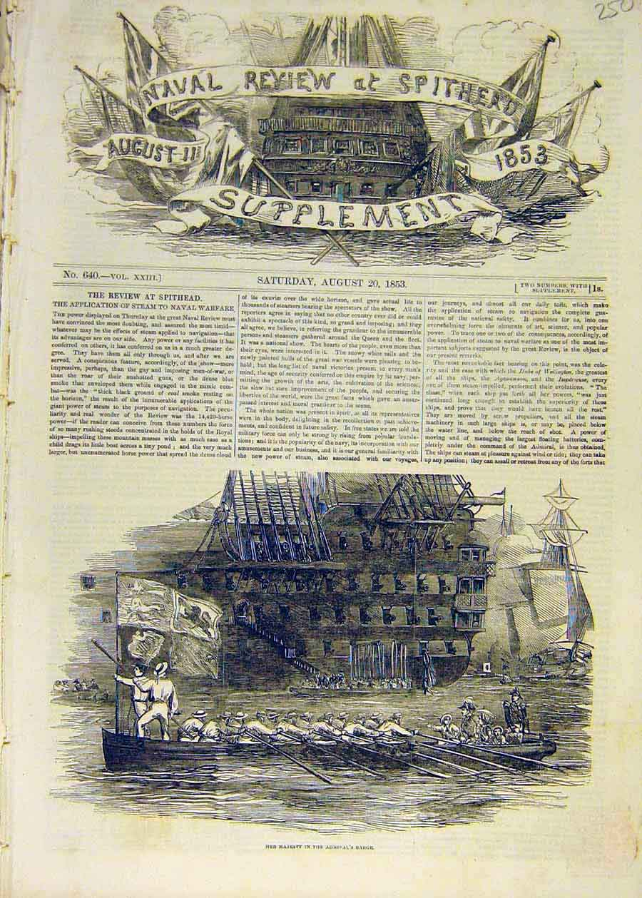 Print 1853 Admiral'S Barge Queen Naval Review Spithead 50Ccc1 Old Original