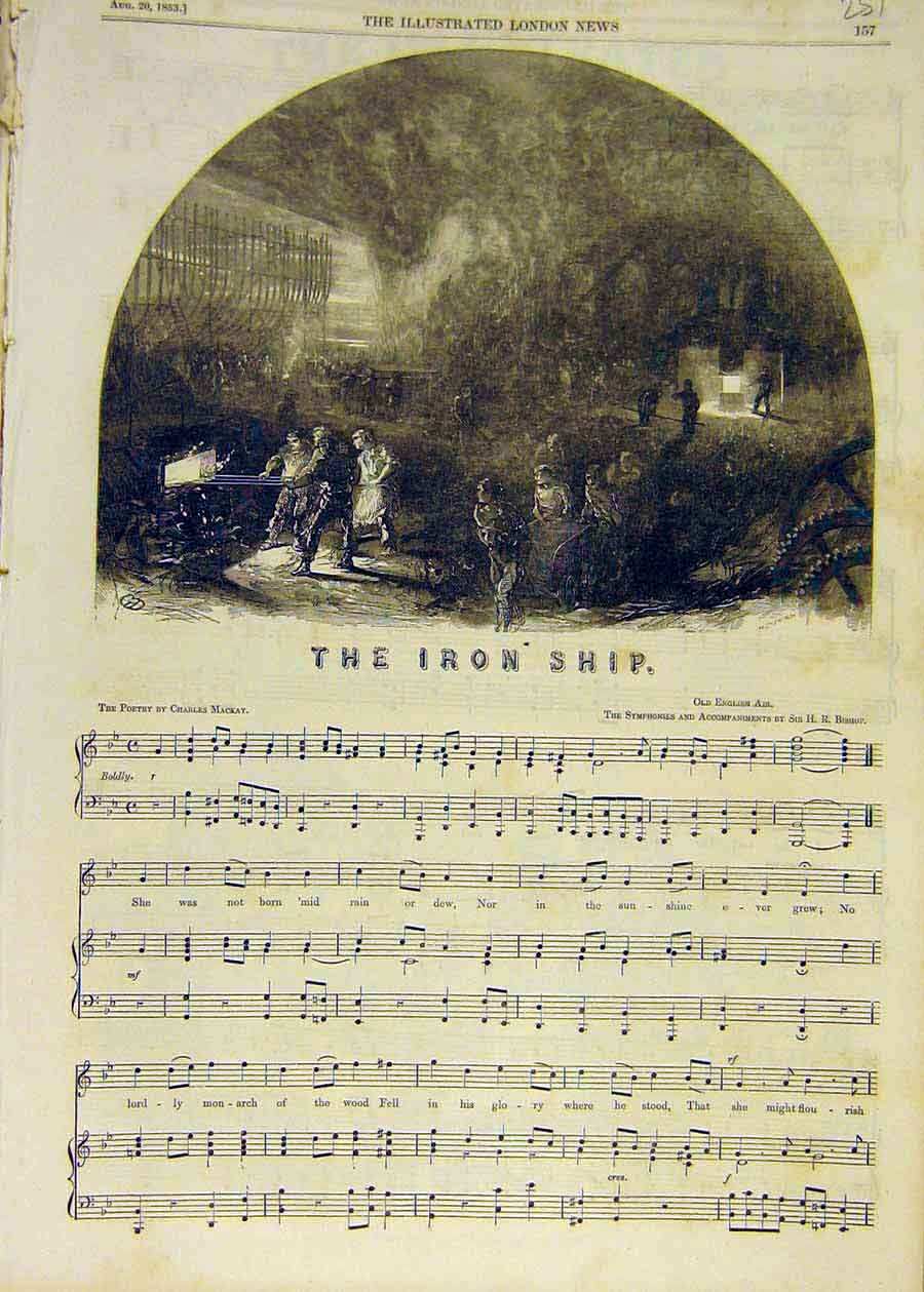 Print 1853 Iron-Ship Song Melody Music Score 51Ccc1 Old Original