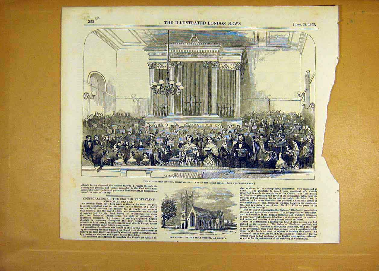 Print 1853 Gloucester Music Festival Shire-Hall Geneva Church 52Uccc1 Old Original