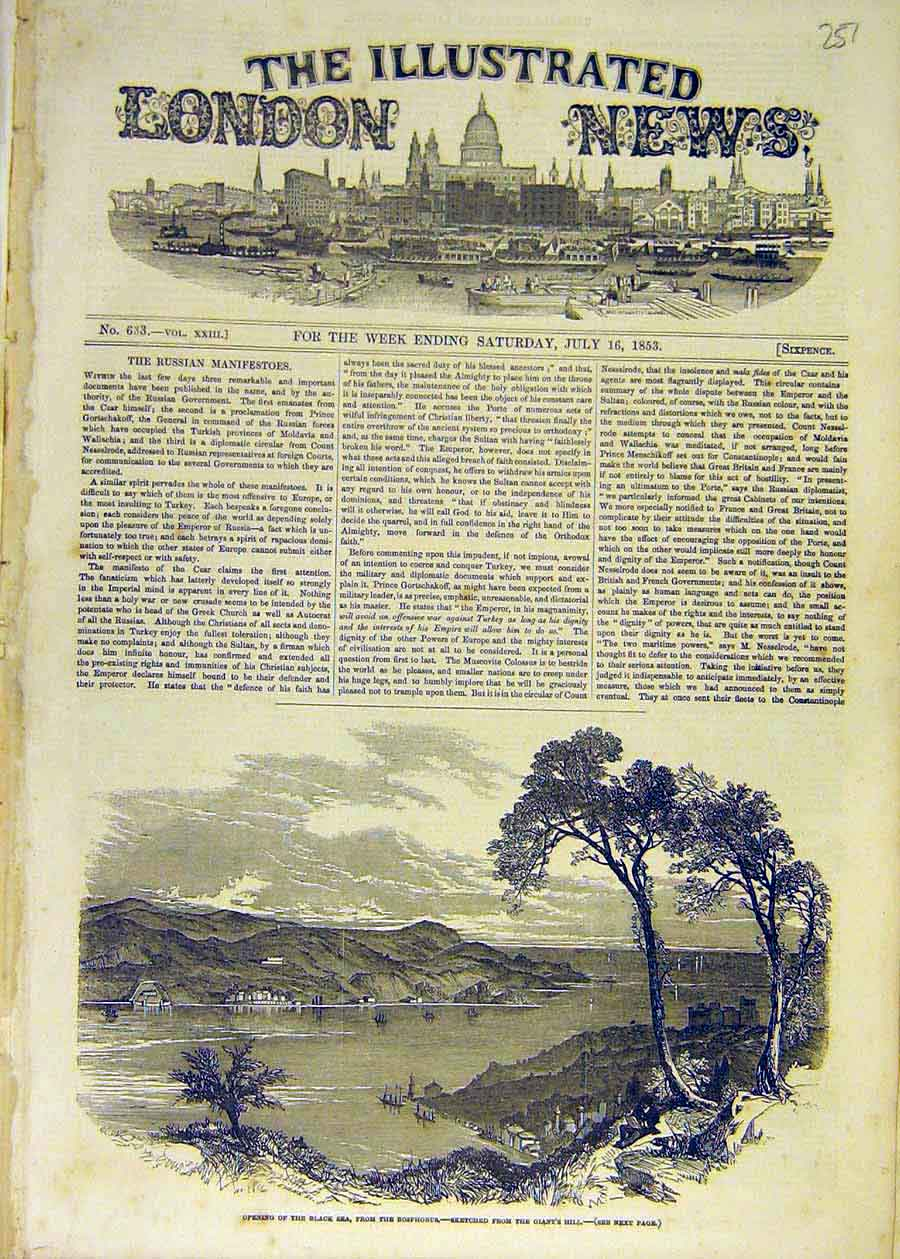 Print 1853 Black-Sea Bosphorous Sketch Giant'S Hill 57Ccc1 Old Original