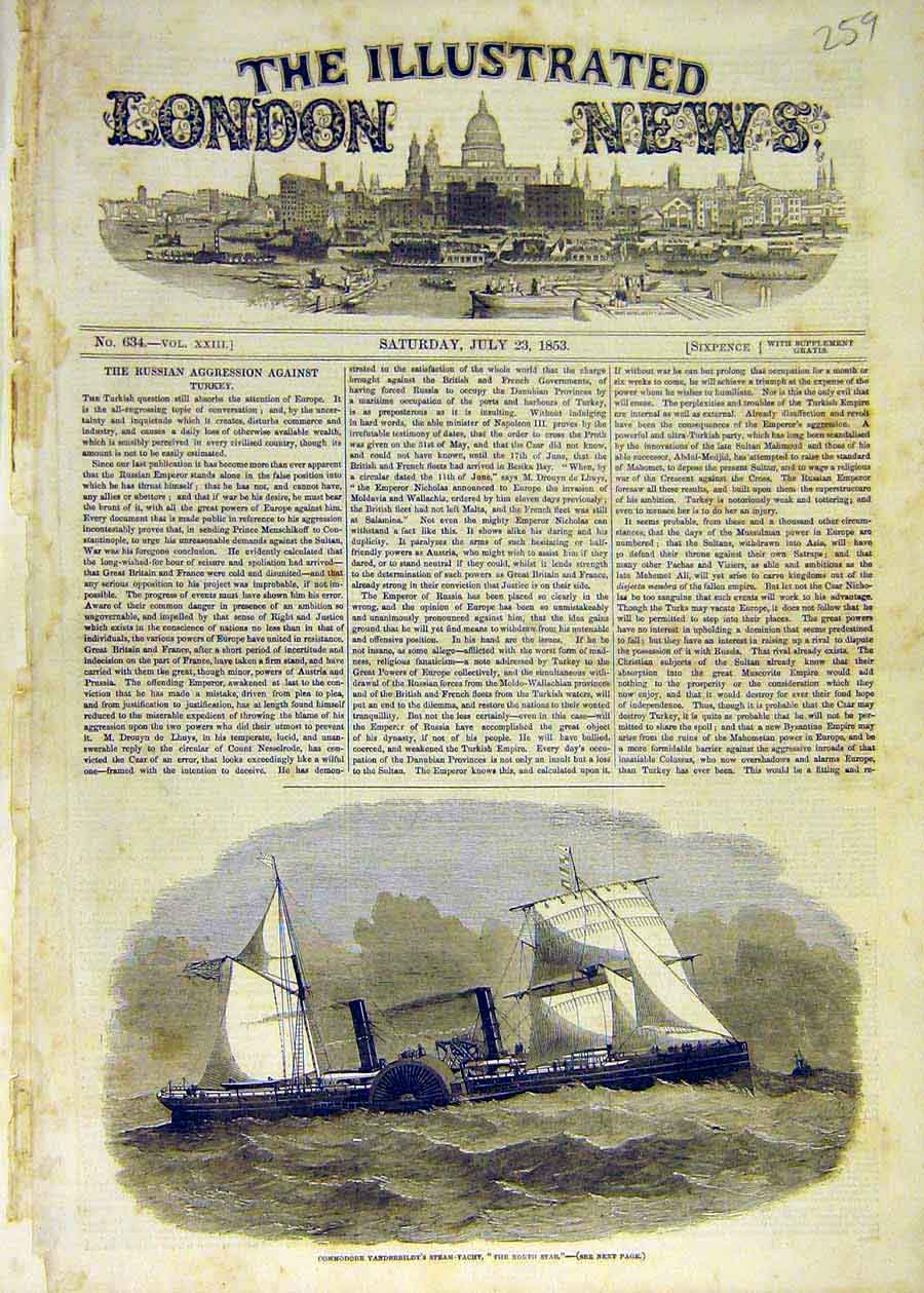 Print 1853 Commodore Vanderbildt Steam-Yacht The-North-Star 59Ccc1 Old Original